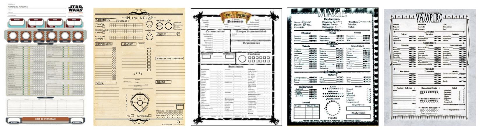 Usos de los juegos de Rol: la hoja de personaje   Gamificación & ABJ